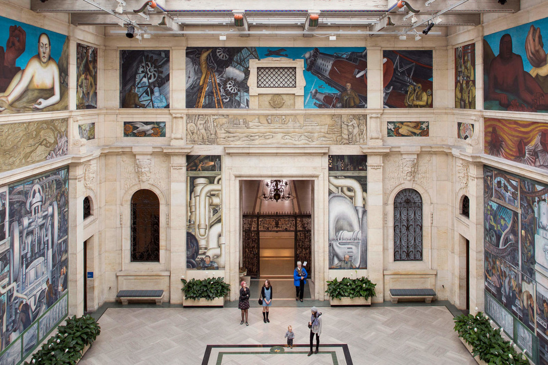 Tuesday, November 8, 2016: Visitors to the Detroit Institute of Arts in the museum's Rivera Court, featuring The Detroit Industry Murals by artist Diego Rivera, painted in the 1930's.  Assignment ID: 30197528A  Photo by Kevin J. Miyazaki/Redux                              NYTCREDIT: Kevin Miyazaki for The New York Times